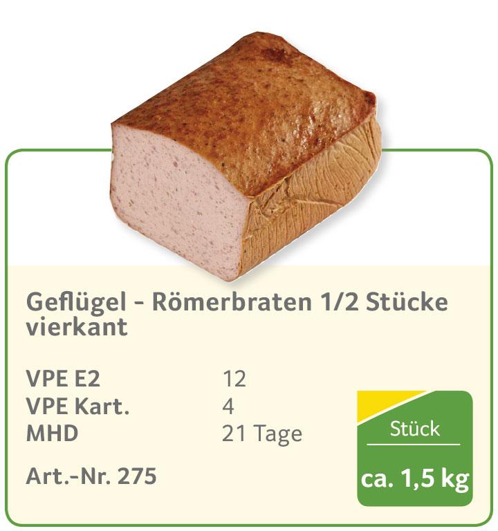 Geflügel - Römerbraten 1/2 Stücke vierkant
