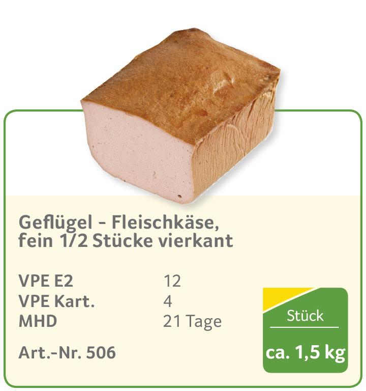Geflügel - Fleischkäse, fein 1/2 Stücke vierkant